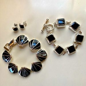 Black Onyx and Silver Bracelets and Earrings Set